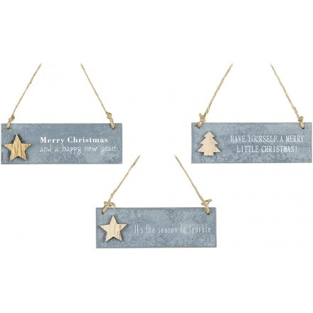 Hanging Festive Plaques Set of 3