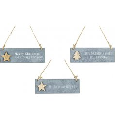 Each decorated with its own scripted text and wooden decal feature,
