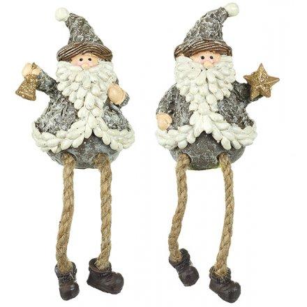 Rustic Grey Dangly Leg Santa Figures, 2 ass