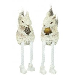 A mix of 2 sitting squirrels decorated with faux fur tails, a sprinkle of glitter and dangly legs