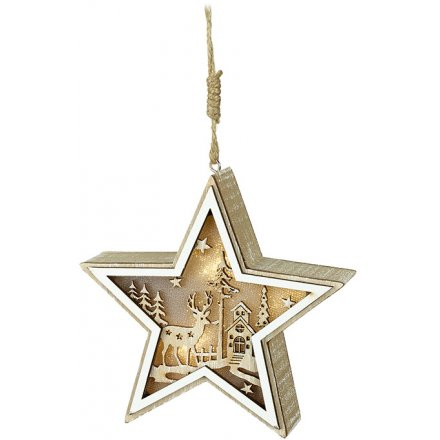 Wooden Hanging Star With LED