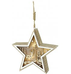 A charming natural toned wooden hanging star decoration featuring a woodland cut scene and illuminating LED centre