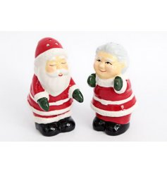 A festive themed set of ceramic salt and pepper sets