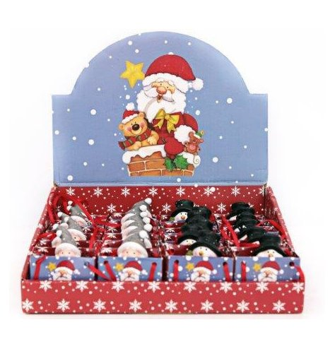 Miniature Christmas gift bags with Santa and Snowman Christmas characters inside.