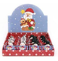 A festive assortment of mini lucky bags in a Santa and Snowman shape