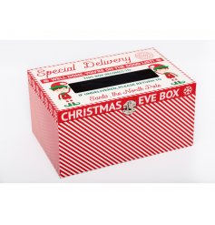 A large Christmas Eve box complete with a festive candy cane print and elf illustration