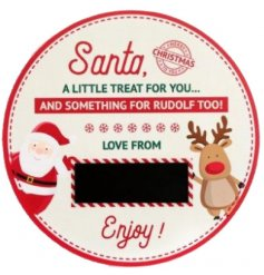 A festive themed Treat plate, perfect for letting little ones lay out Santas Mince Pie and Rudolphs Carrot on Christmas