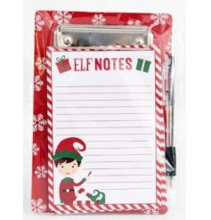 A festive themed pad and pen with an added elf illustration