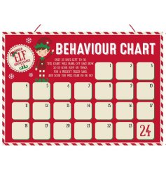 A small cardboard Behaviour Chart with an added Elf Decal