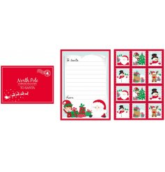 A festive themed Letters To Santa Kit, including an Envelope, Letter and Assortment of Stamps!