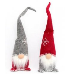 Two assorted charming Santas with tall hats and snowflake stitching.