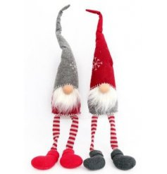 Two assorted nordic Santas in red and grey with long dangly legs.