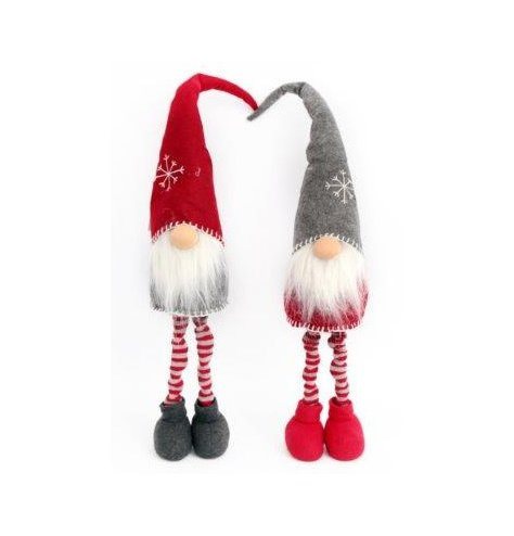 Traditional, nordic inspired gonk decorations in red and grey colour assortments.
