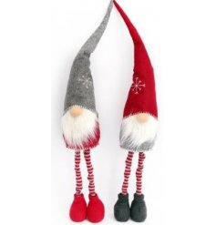 Two friendly standing Santas in red, grey and white. Lovely additions to a woodland Christmas.