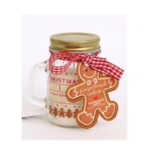 A beautifully scented gingerbread cookies candle set within a classic mason jar, decorated with a recipe for love design