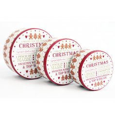 A lovely set of Christmas storage tins to store all your Christmas baking.