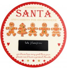 An adorable treat plate for Santa in gingerbread theme with a chalkboard plaque to personalise.