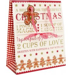 A jolly gingerbread gift bag with gingham hands and a jolly gingerbread man tag.