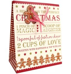 A lovely gingerbread nordic themed gift bag for this Christmas. Available in several sizes to stock the full range.