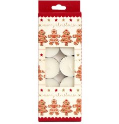 Beautifully gift boxed, a set of 10 gingerbread scented T-lights.