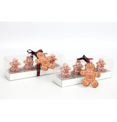 Adorable gingerbread T-lights gift boxed in two assorted designs.