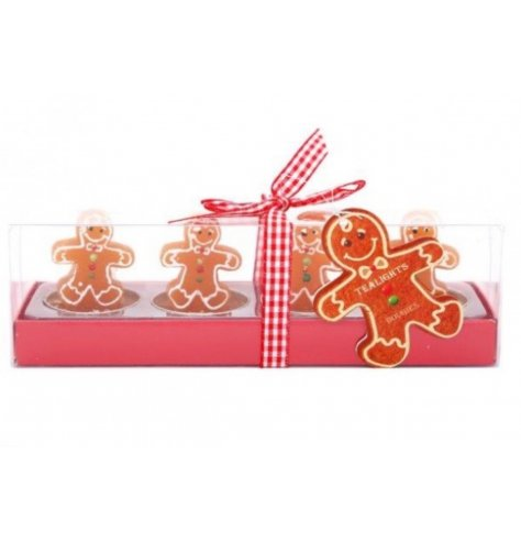 Wonderfully detailed Gingerbread shaped t-light holders packaged with a traditional red gingham bow.