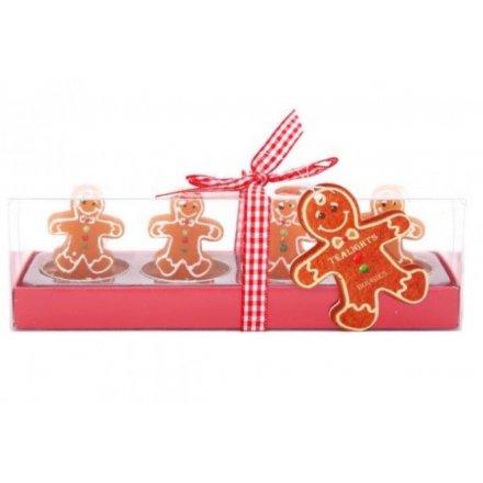 Gingerbread T-light Sets, 2 Asst
