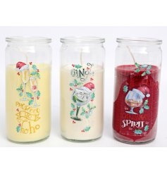 A fun themed assortment of Christmas themed candles with added festive scents and packaging