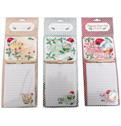 A fun themed assortment of Christmas memopads,  each decorated with Alcoholic inspired decals