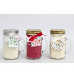 A fun themed assortment of Christmas themed candle jars with added festive scents and packaging