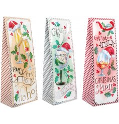 A fun themed assortment of Christmas Bottle Bags each decorated with Alcoholic inspired decals