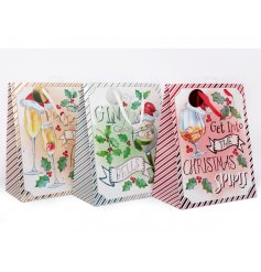 A fun themed assortment of Christmas Gift Bags each decorated with Alcoholic inspired decals