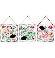 A fun themed assortment of hanging wooden plaques with an added Countdown Chalkboard and Alcoholic inspired decals