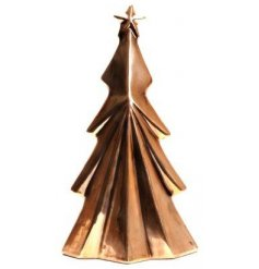A tarnished golden toned tree ornament with a Contemporary inspired theme