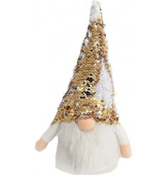A fabulous plump little gonk accessory featuring a fuzzy white beard and super sparkly gold toned sequin hat