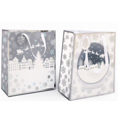 Beautifully assorted giftbags, featuring a white and silver snowflake decal and added snowglobe inspired print