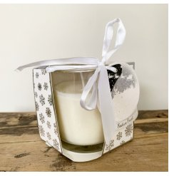 beautifully packaged within a Snowflake scattered display box and labelled with a Snowglobe shaped tag