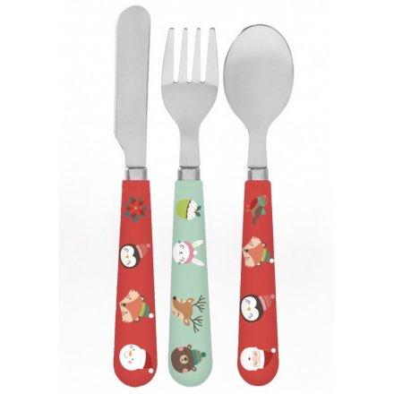 Festive Friends Christmas Cutlery