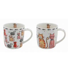 An assortment of cat illustrated mugs