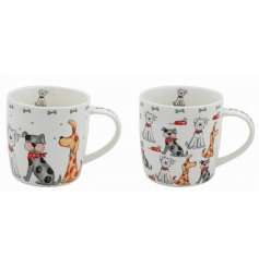 An assortment of dog illustrated mugs