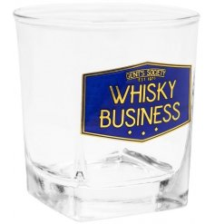 A small square Whisky Glass featuring a navy blue and gold 'Gents Society' themed label