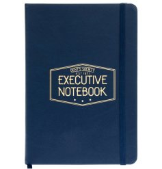 A large hardback notebook featuring a navy blue and gold 'Gents Society' themed setting