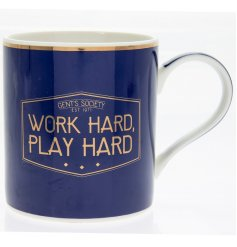 A Fine China drinking mug featuring a navy blue and gold 'Gents Society' themed label
