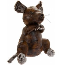 A brown Faux Leather Mouse Doorstop