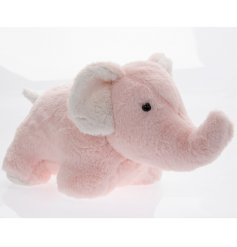 An adorably fuzzy elephant door stop in a baby pink tone