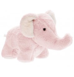 A baby pink toned elephant doorstop covered in a snuggly fur