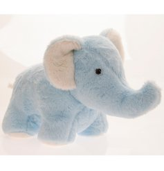 An adorably fuzzy elephant door stop in a baby blue tone