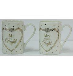 A set of Fine China Mugs beautifully decorated with a silver foil spotted pattern, a charming scripted text and added d