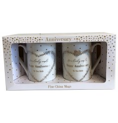 A Fine China Mug beautifully decorated with a silver foil spotted pattern, a charming scripted text and added diamonte