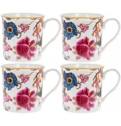 A beautifully floral themed set of Fine China Mugs, Well presented in a large gift box